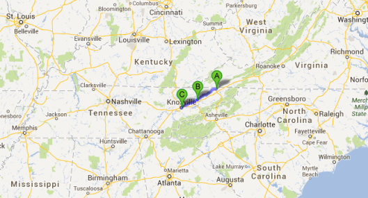 Etappe 6: Kingsport (A), Morristown, (B), Knoxville (C)