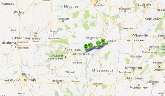 Etappe 13: Gallaway (A), Memphis (B), Forrest City (C), Brinkley (D)